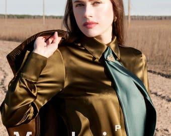 Silk shirt. Silk blouse.
