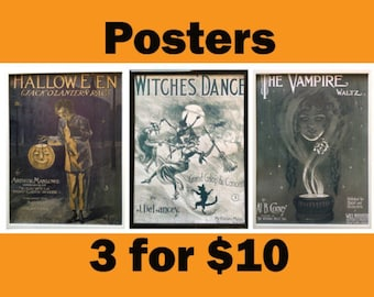 Vintage halloween art & collectibles Vintage Halloween print wall art Retro Vintage Halloween pumpkin print poster wall art vintage prints