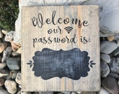 Wifi Sign, wifi password sign, entry sign, welcome sign, password sign, wooden sign, wood sign, rustic sign, farmhouse sign, farmhouse decor