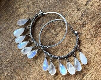 Moonstone Hoops * Full Moon* earrings a108- flashing smooth Moonstone hoops. moonstone in handmade . gipsy dangle . gemstones on sterling