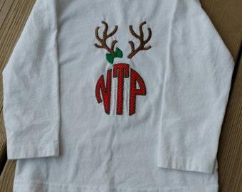 Christmas toddler shirt, antler girl shirt, monogram reindeer shirt, Christmas tee, reindeer Christmas shirt, antler Christmas shirt