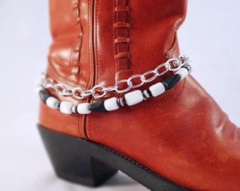 Black & white beaded boot bracelet, Black and white multi chain boot chain, Silver black white boot chain, Beaded boot bling, Boot anklet