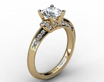 Classic 14K Yellow Gold 1.0 Ct White Sapphire Diamond Solitaire Engagement Ring R1126-14KYGDWS
