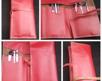 Leather pen case, Leather pencil case, Pencil holder, Pen holder, Roll Case, Leather roll holder. Leather artist roll, tool roll case.