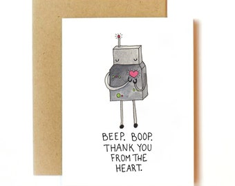 Robot Thank You Card Set | Printed Set of 3, 15, or 24