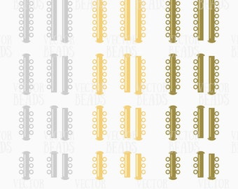 Slide Lock Clasps Vector Clip-art Set, Four Sizes of Strand Tube Clasps - ai, eps, pdf, png