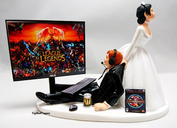 funny wedding cake toppers xbox wedding cake topper custom lol gamer pc 14610