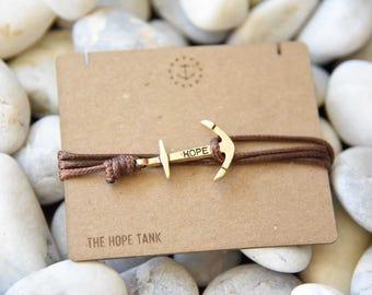 Brown Leather + HOPE bracelet