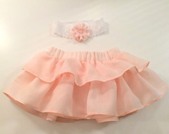 Blush pink skirt Girls pink skirt Flower girls skirt Pink girls skirts Baby pink flounce Tutu skirt Elastic waist skirt  Flounce girls skirt