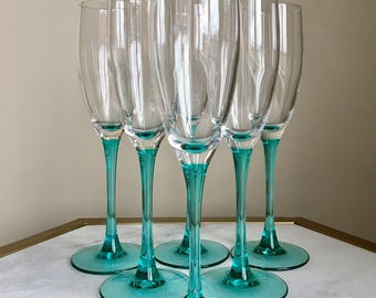 Set Of 6 Luminarc Turquoise Blue Clear Glass Champagne Flutes. France.