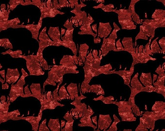 Living Lodge, Wildlife Fabric, Animal Silhouette Fabric, Animal Silhouettes, Animal Fabric, Benartex 01472