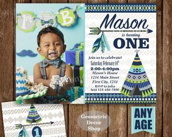 Wild one birthday invitation - Boho 1st birthday party - First birthday party invitation - Tribal woodland - green - blue - Photo - BDWild4
