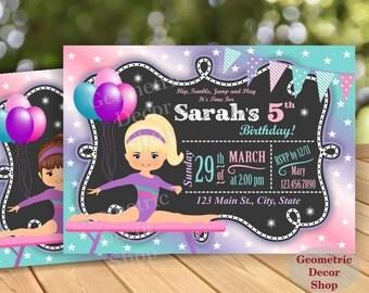 Birthday Invitation / Gymnastics Invitation / Gymnastic Invitation / Party Invite / Gymnastic Invitations / Girl Pink Purple Aqua Purple BG4