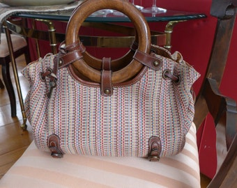 Fossil Woven Multi-color Purse with Wooden Handles Genuine Leather Tote Handbag