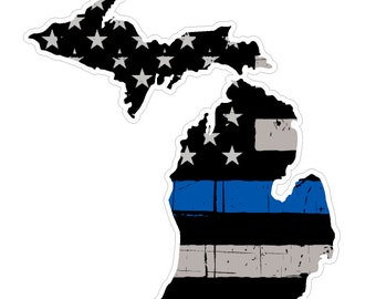 Michigan State (V23) Thin Blue Line Vinyl Decal Sticker Car/Truck Laptop/Netbook Window