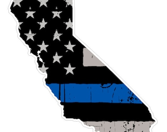 California State (U7) Thin Blue Line Vinyl Yeti Tumbler Decal Sticker Laptop/Netbook