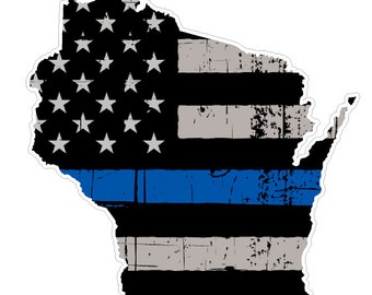 Wisconsin State (U49) Thin Blue Line Vinyl Yeti Tumbler Decal Sticker Laptop/Netbook