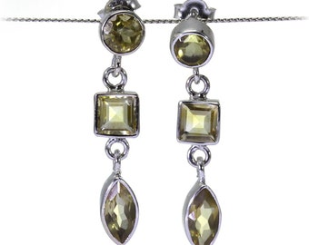 Lemon Quartz Earrings, 925 Sterling Silver, Unique only 1 piece available! color yellow, weight 5.5g, #30375