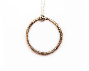 Bronze Woodland Circlet Necklace - Twig Nature Forest Woods Boho Eternity