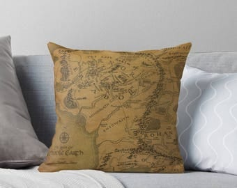 Middle Earth Pillows: Fantasy Map Cushions Lord of the Rings