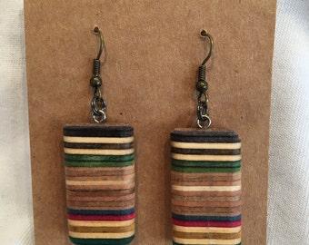 Recycled Skateboard Wooden Earrings