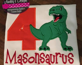 T-rex dinosaur birthday shirt! All birthday numbers available! Personalized!