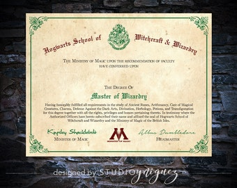 Personalized hogwarts master of wizardry diploma by for Hogwarts certificate template