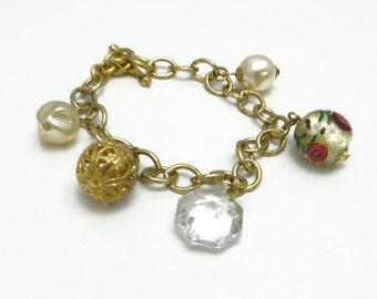 Charm Bracelet, Eclectic Charm Bracelet, Gold Link Bracelet, Pearl Floral Bracelet