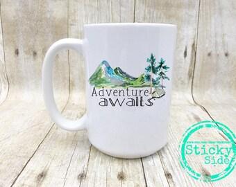 Adventure Awaits | Camping Mug | Adventure Awaits Mug | Adventure Mug | Outdoors Mug | Mountain Mug | Adventurer Coffee Mug | Explore Mug
