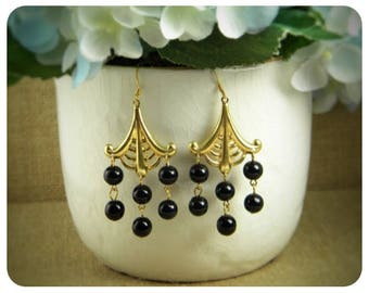 Black Colored Glass Beads, Brass Dangle Earrings