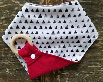 Black Triangles with Red Waterproof Reversible Interchangeable Teething Bib