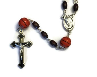 Basketball Rosary, Wood Rosary, Sports Rosary, Crucifix Cross Pendant, Silver Rosary, Men's, First Communion, Cross Necklace