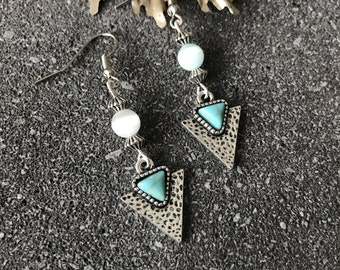 Earrings turquoise triangles - indian - spirit - boho