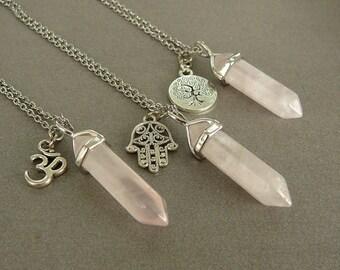 Rose quartz pendant etsy rose quartz necklace rose quartz pendant hamsa necklace healing crystal necklace for women necklace om necklace aloadofball Images