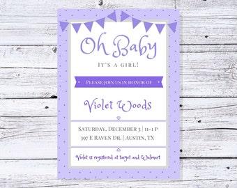 Baby Girl Shower Invitation - Purple Baby Shower Invite - Printable Baby Shower Invitation