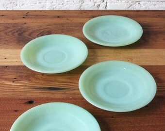 Vintage 4 Pieces Jadite Set Jadeite Jane Ray Tea Cup Saucers by Fire King Anchor Hocking Pair All Marked
