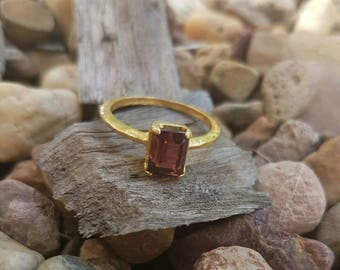 Pink Tourmaline 22ct Gold Plated Ring