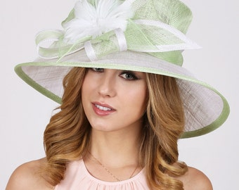 2-Tone Sinamay  Medium Brim Hat w/Feather Flower Center, Kentucky Derby Hat, Mothers Day Hat, Church Hat, Easter Hat, Dressy Hat, Tea Party