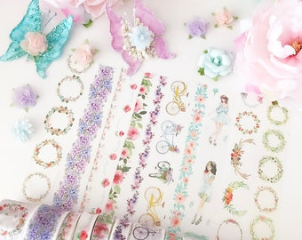 Garden Floral Sticker washi Tapes / Masking Deco Tapes / Stationery Adhesive wreath girl bicycle rose Diary Planner Stickers / Mail Art