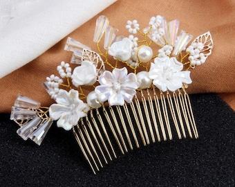 Bridal Hair Comb, Flower Pearl And Crystal Wedding Hair Comb, Crystal Hair Pin, Wedding Hair Accessories, Bridal Hair Piece, Flora Headpiece