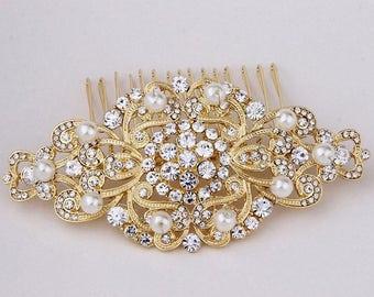 Wedding Hair Accessories, Gold Bridal Hair Comb, Wedding Hair Comb, Rhinestone and Pearl Wedding Hair Comb, Bridal Headpiece, Gold Hair Comb