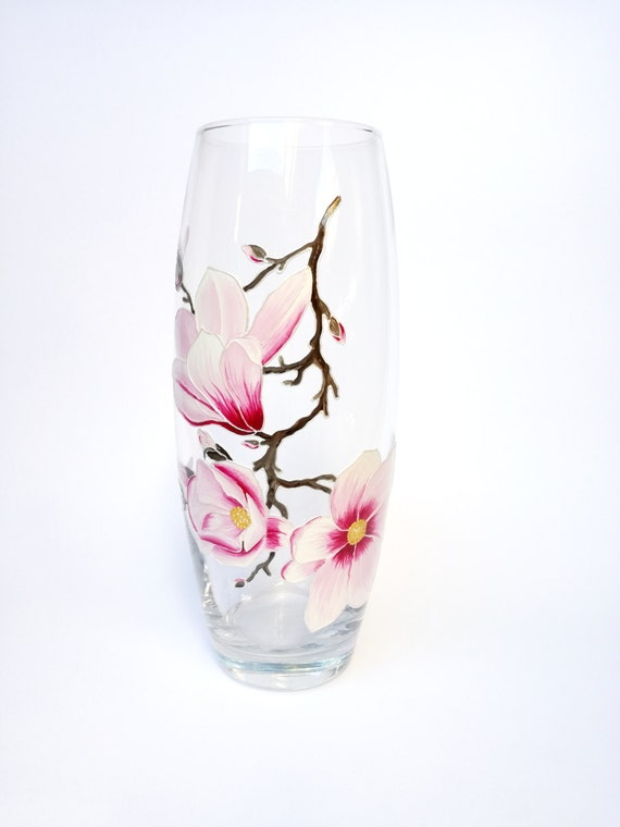 Hand painted vase Colored Glass Floral Table Accent Cozy Interior Decor Hostess Women Christmas Gift Pink Magnolia Transparent Painted Vase