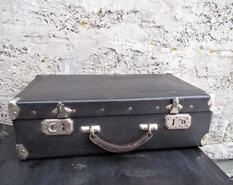vintage suitcase/vintage luggage/travel suitcase/ suitcase black/faux leather