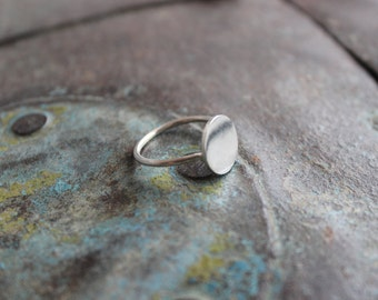 Round flat stud ring sterling silver coin ring