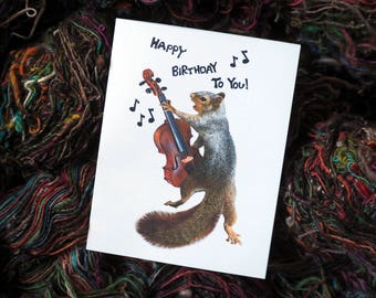 Squirrel with Violin Printable Birthday Card, Digital Squirrel Happy Birthday Card, Violin Birthday Card