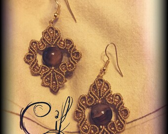 Macrame Earrings with Natural Agate