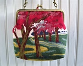 "Cherry Trees Landscape Spring Pink Blue Brown Vintage Barkcloth Fabric 8"" Antique Brass Kisslock Frame Crossbody Shoulder Bag Purse"
