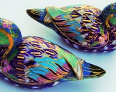 MANDARIN DUCKS Chinese Cloisonne Vintage 40s Enamal & Gold Gilt on Brass Feng Shui Wedding Gift Home Decor Attract Love Connection Bejing