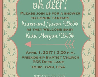 Oh Deer Baby Shower Invitation for Girl or Boy