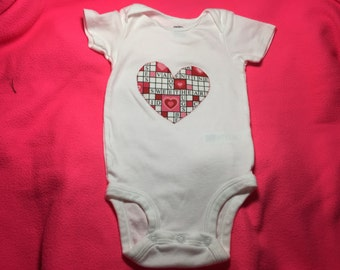 Valentine's Day Love Puzzle Heart Bodysuit or Shirt for Infants and Toddlers Handmade